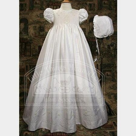 Baby Girls White Silk Dupioni Smocked Christening Dress Set 3M-12M