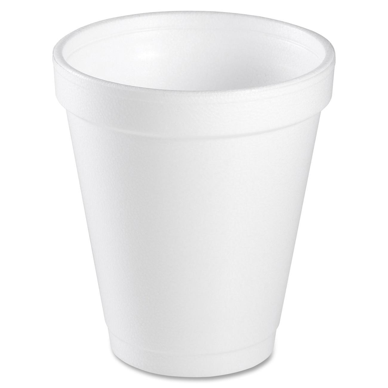 Dart Foam Drink Cups, 6oz, White, 25/Bag, 40 Bags/Carton
