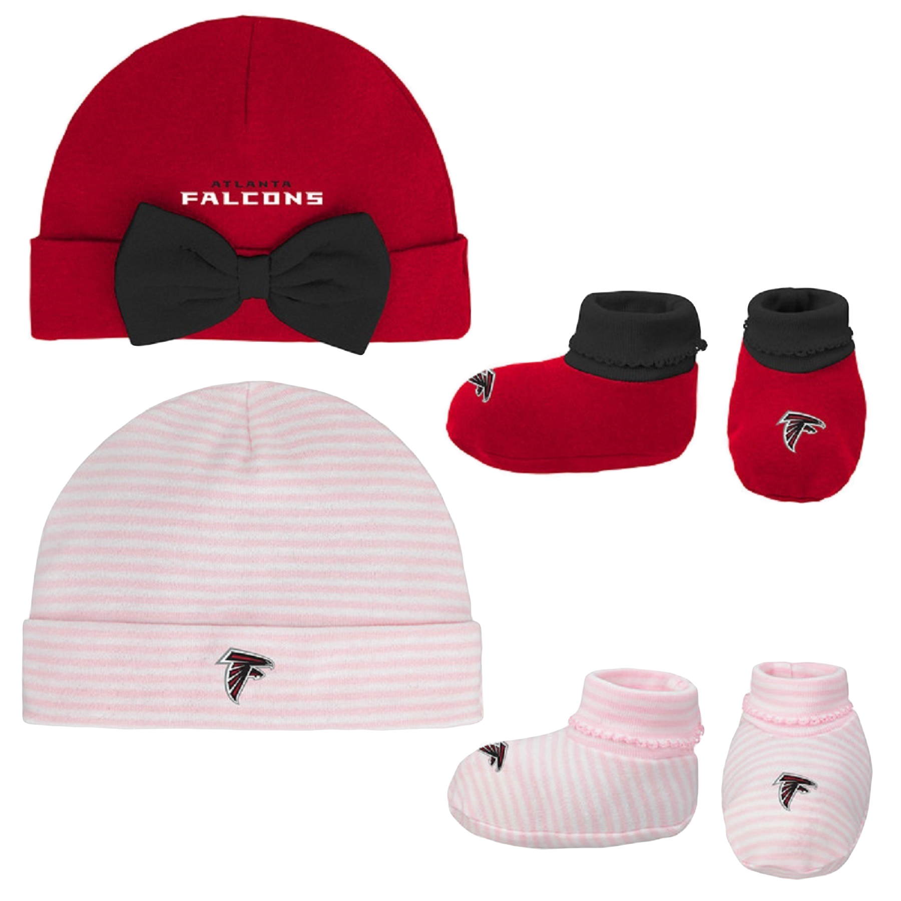 Girls Newborn & Infant Red/Pink Atlanta Falcons Cuffed Knit Hat & Booties Set - Newborn