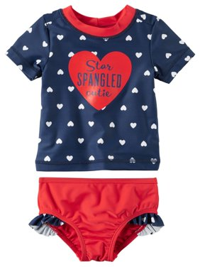 Carters Baby Clothing Outfit Girls Fourth of July Rashguard Set Star Spangled Cutie Red