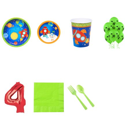 Rocket To Space Party Supplies Party Pack For 16 With Red #4 Balloon - Space Party Supplies