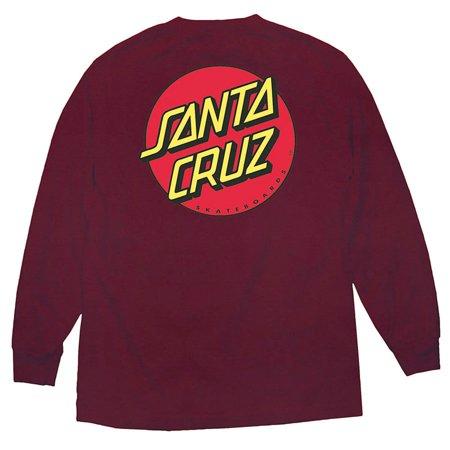 Classic Dot Long Sleeve T-Shirt 2X-Large Burgundy, 90% Cotton By Santa