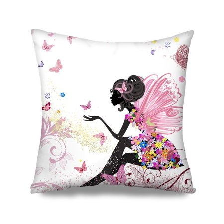 HGOD DESIGNS Flower Fairy Girl with Pink Wing Elves and Butterflies Throw Pillow Case Cushion Cover Fashion Home Decorative Sofa Bedroom Pillowcase Gift Double Sides Printed 18x18 Design15 (Butterflies And Fairies)