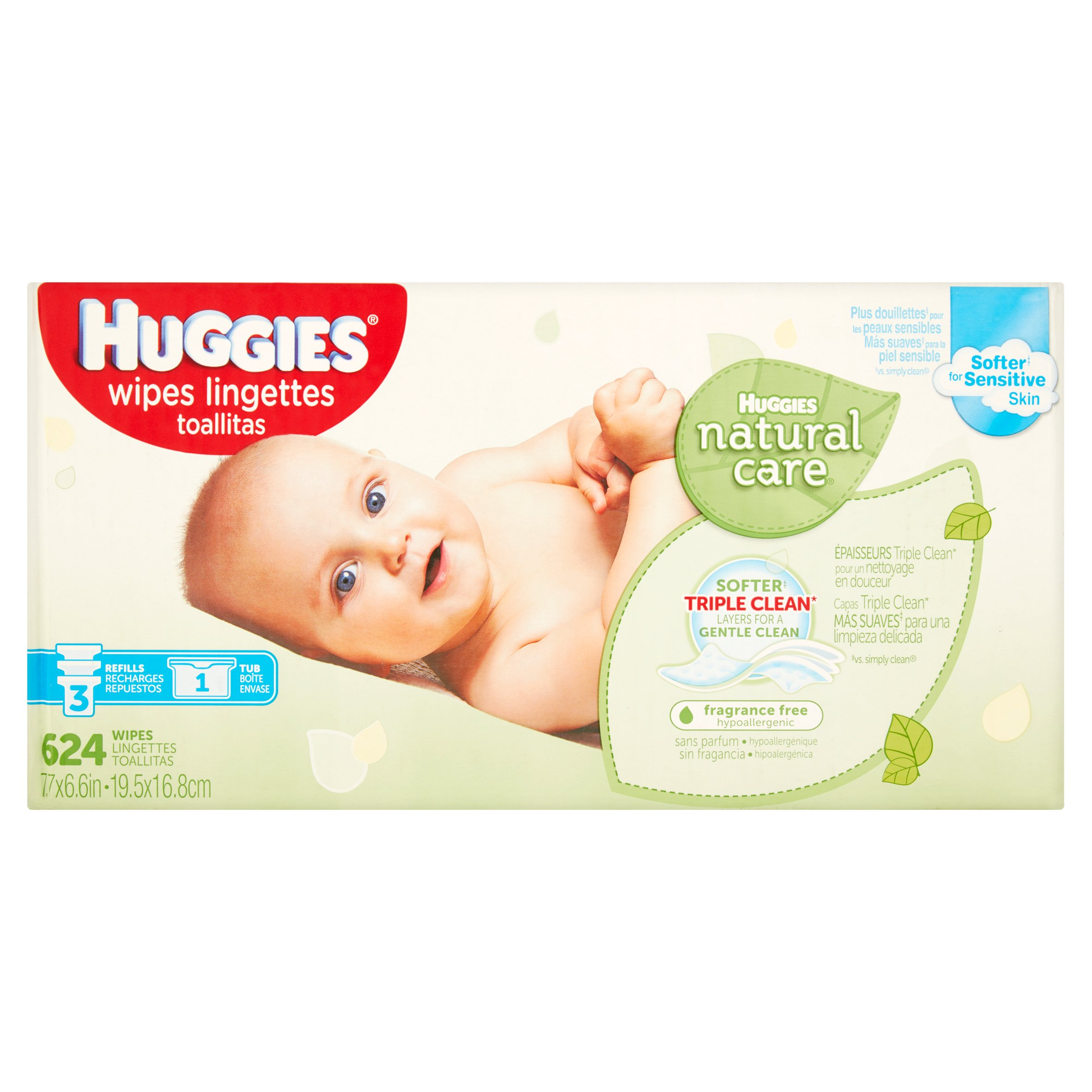 Huggies Natural Care Baby Wipes, Unscented, 3 Refills + 1 Tub (624 count) by HUGGIES