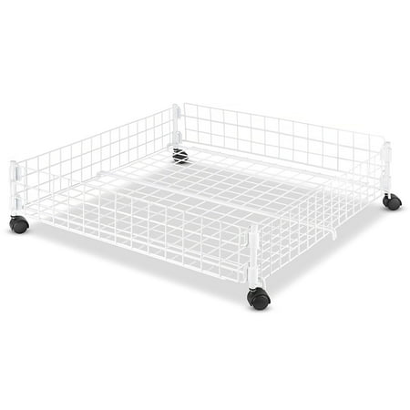 Whitmor Rolling Underbed Cart White Wire ()