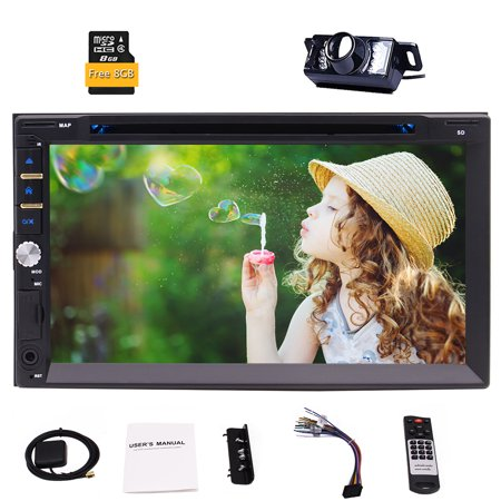 Eincar Double Din Car Stereo with 7.0 Inch 800*480 HD Capacitive Touch Screen Supports GPS Navi Bluetooth Steering Wheel Control Win CE Auto Radio FM AM USB DVD CD UI Free Rear