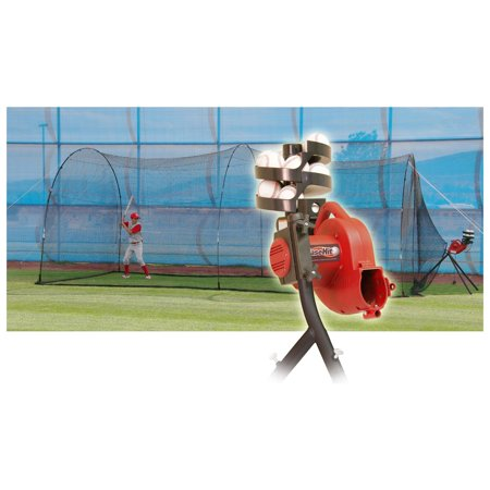 Heater Sports BaseHit Pitching Machine with PowerAlley Batting Cage ()