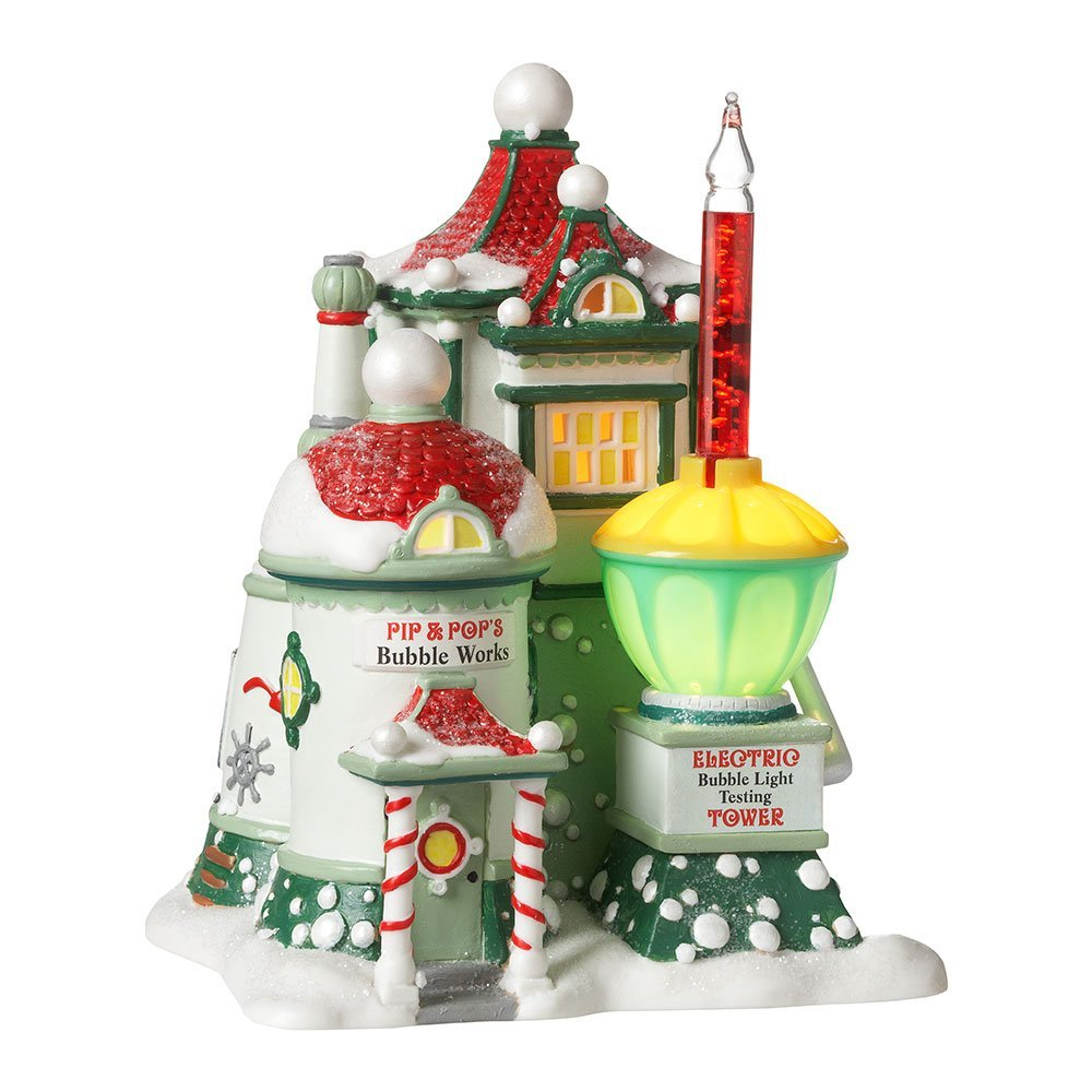 Department 56 North Pole Series Village Pip and Pop's Bubble Works Lit House, 6.89-Inch