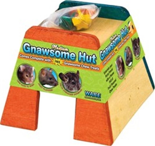 Ware Wood Gnawsome Small Pet Hut with Chew Toy, Medium Multi-Colored