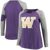 Washington Huskies Women's Plus Size Preppy Elbow Patch Slub Long Sleeve T-Shirt - Purple/Charcoal