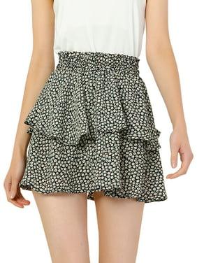 Women's Floral Print Elastic High Waist Ruffles Layered Skater Skirt XL Black