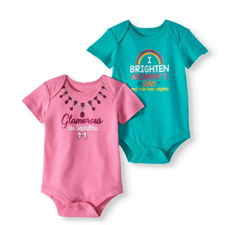 Attitude Baby Girl Short Sleeve Bodysuits, 2-pack - Nautical Baby Girl Clothes