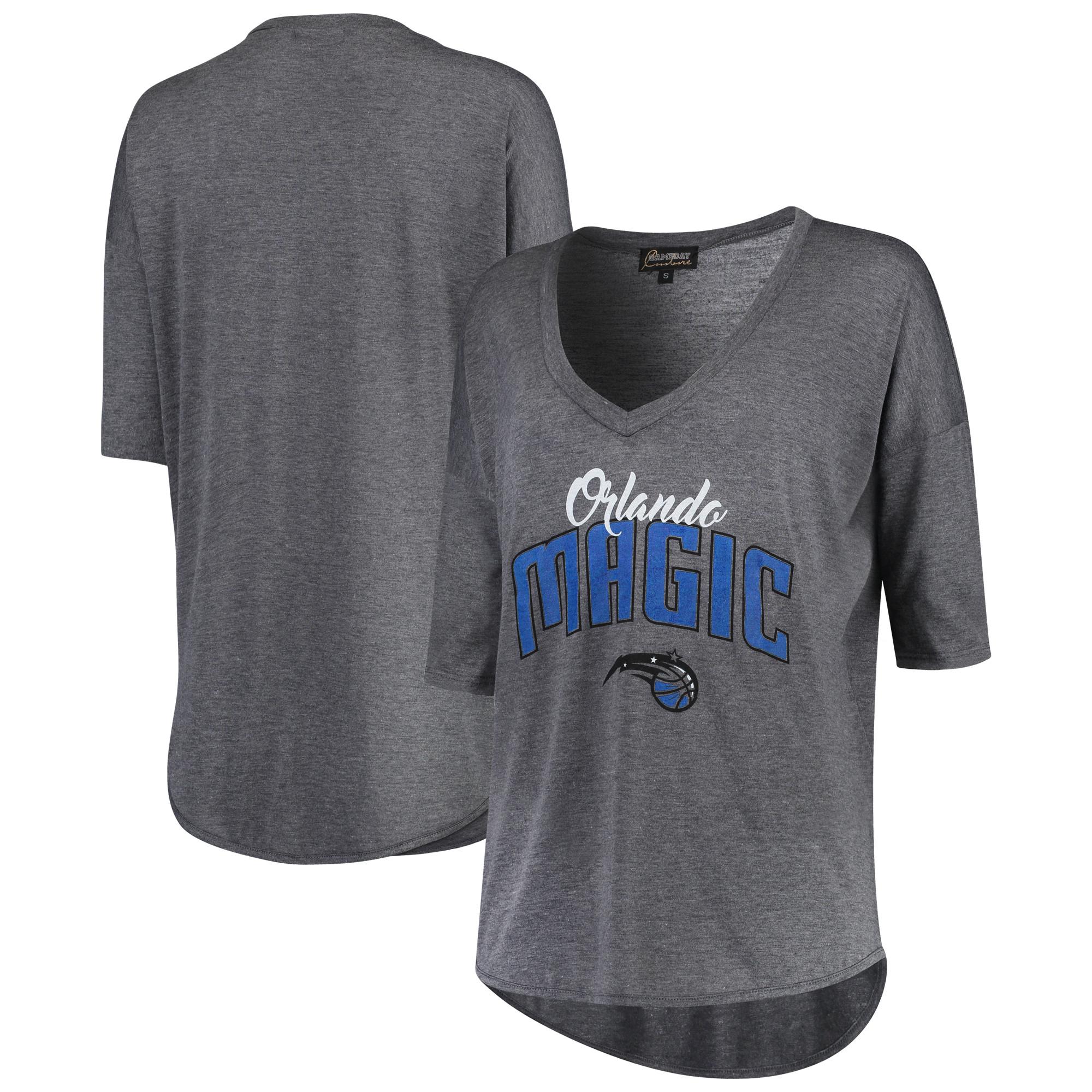 Orlando Magic Women's Deep V-Neck Tri-Blend Half-Sleeve T-Shirt - Gray
