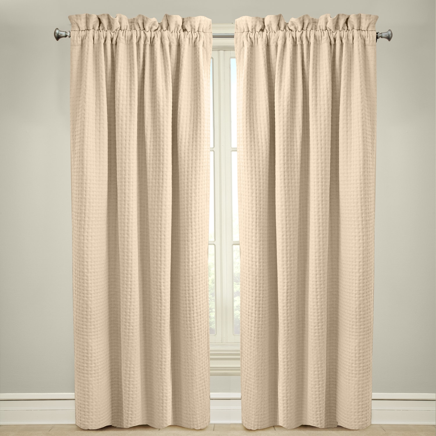 Grand Luxe  Payton Rod Pocket Curtain Panel Ivory 63 Inches