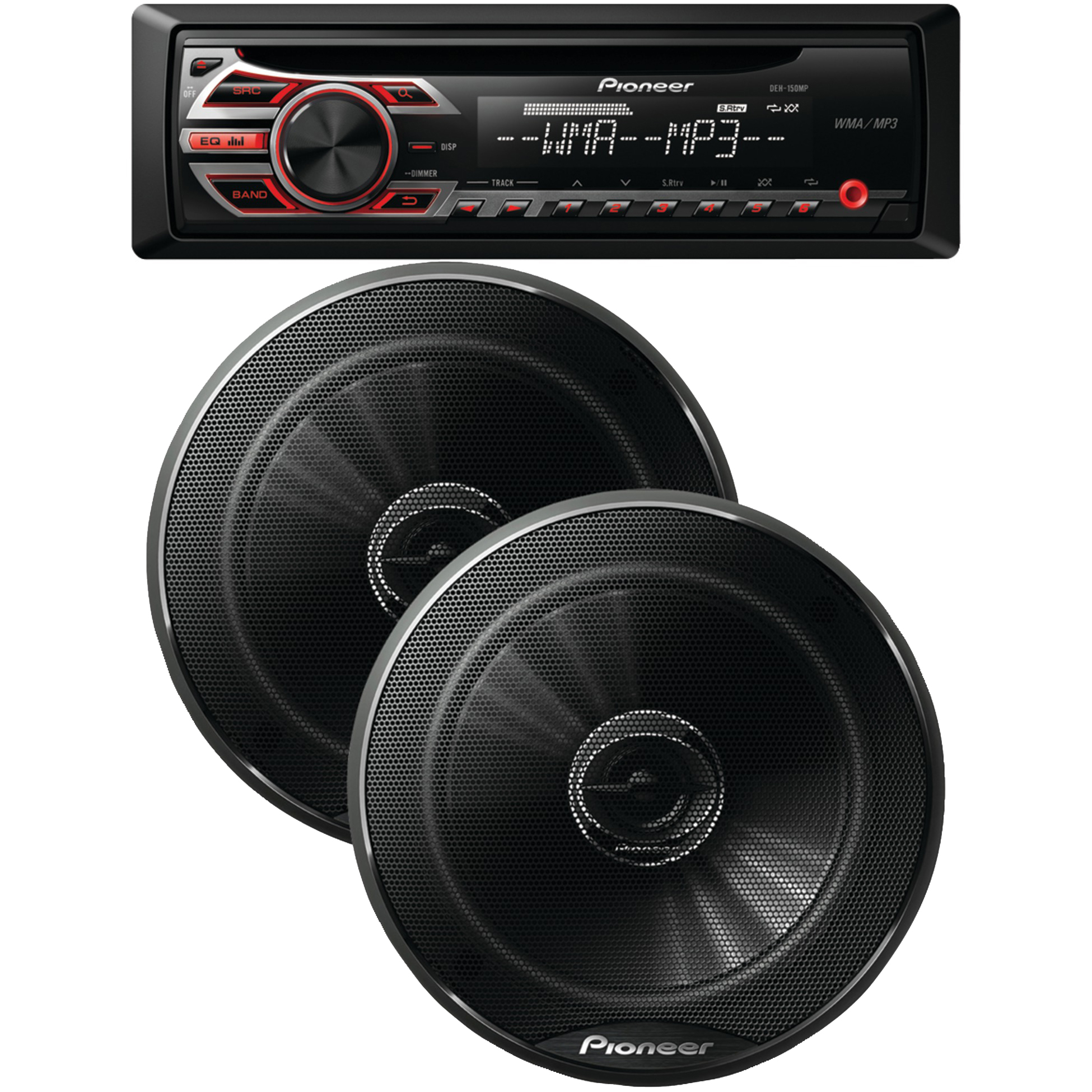 "Pioneer Single-din In-Dash CD Receiver, with two 6.5"" 250-watt 2-Way G-series Speakers"