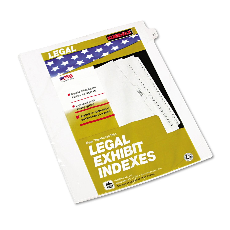 """80000 Series Legal Index Dividers, Side Tab, Printed """"52\ by Kleer-Fax"""