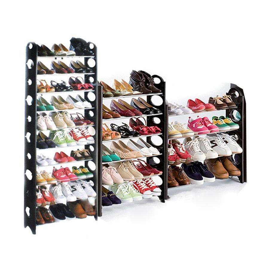 50-Pair Shoe Rack Storage Organizer, 10-Tier Portable Wardrobe Closet Bench Tower Stackable, Adjustable Shelf - Strong & Sturdy Space Saver Wont Weaken or Collapse BETT