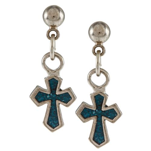 Southwest Moon Silvertone Turquoise Inlay Pointy Cross Earrings