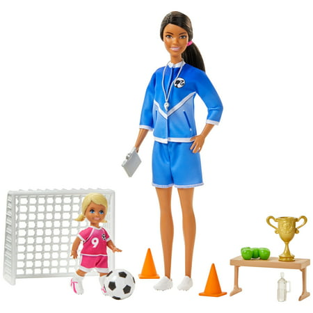 Barbie You Can Be Anything Soccer Coach Brunette Doll Playset