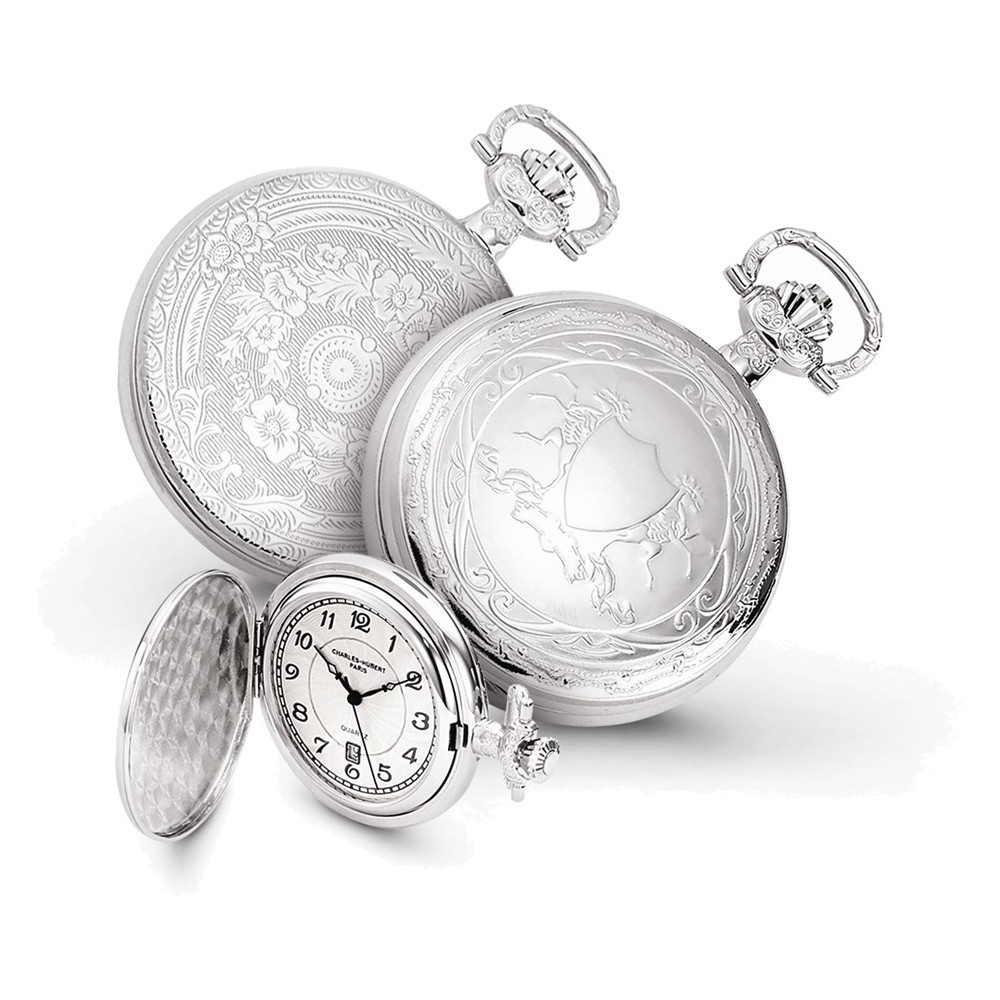 Charles Hubert Chrome-finish Unicorn Shield Pocket Watch