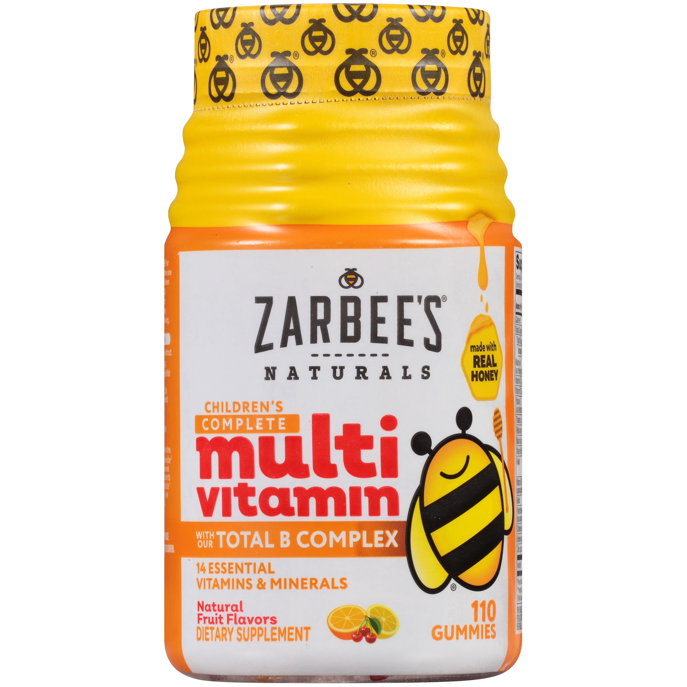 Zarbee's Naturals Children's Complete Multivitamin Gummies with our Total B Complex and Essential Vitamins, Natural Fruit Flavors, 110 Gummies (1 Bottle)