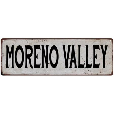 Party City Moreno Valley (MORENO VALLEY Vintage Look Rustic Metal 6x18 Sign City State)