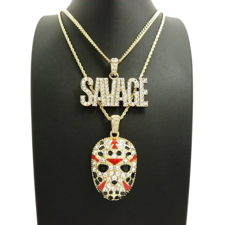 ICED OUT HIP HOP SAVAGE & SLAUGHTER GANG MASK PENDANT & CHAINS 2 NECKLACE SET ()