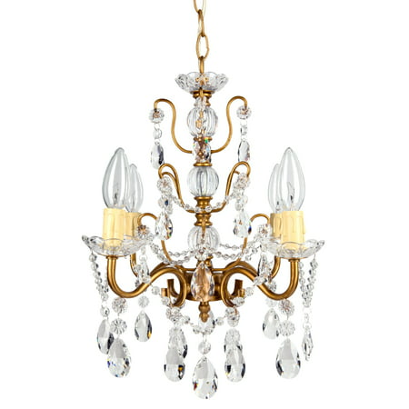 Amalfi Décor 4 Light Shabby Chic Crystal Plug-In Chandelier (Gold) | Wrought Iron Frame with Glass Crystals