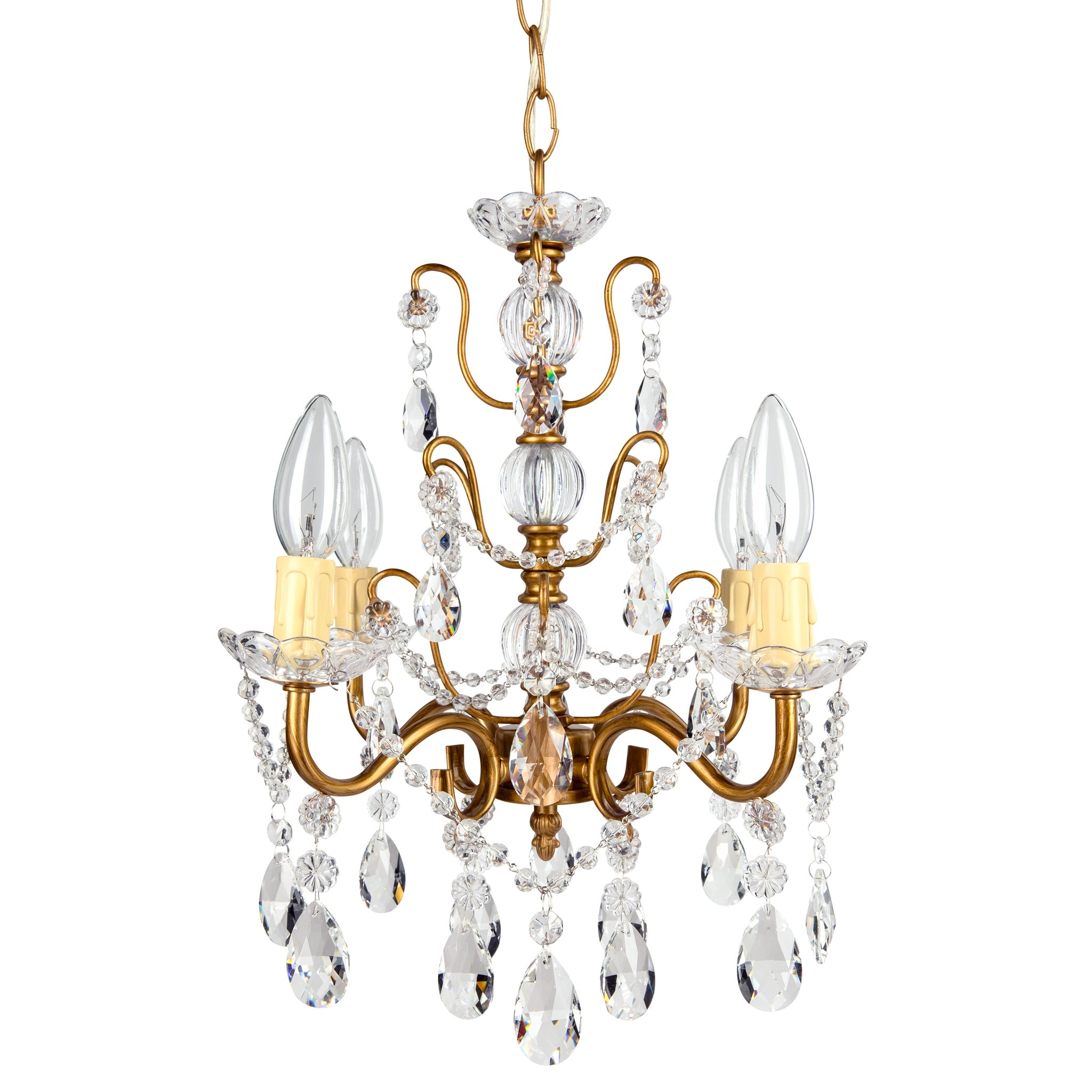 Amalfi Decor 4 Light Shabby Chic Crystal Plug-In Chandelier (Gold) | H | Wrought Iron Frame with Glass Crystals
