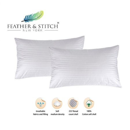 Luxury 100% Cotton, Hypoallergenic Down Alternative Sleeping Pillows Set of 2, available in Queen and King