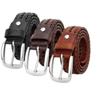 Falari Men Leather Hand Braided Belt Stainless Steel Buckle Casual Dress Belt 9011