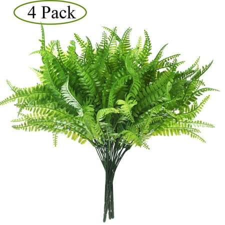 Indoor Flower Plants (4 Pack Artificial Plants Boston Fern Bush Plant Shrubs,Artificial Boston Fern Plants Greenery Bushes Flower for House Office Garden Indoor Outdoor)