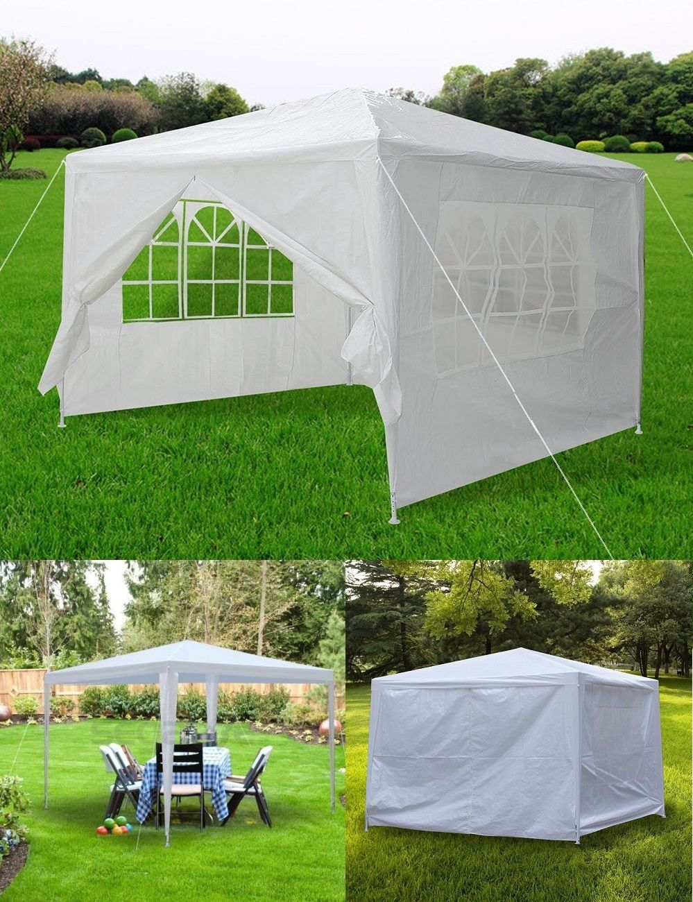 Zeny 10' x 10' White outdoor Wedding Party Tent patio Gazebo Canopy with Side Walls by Zeny
