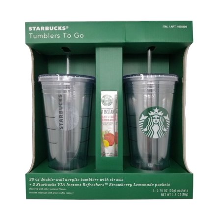 Starbucks Tumblers To Go 20 OZ Double-Wall Acrylic with Straws 2 Pack - Starbucks Halloween Tumblers