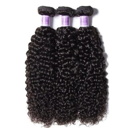 UNice Hair Kysiss Curly Brazilian Hair Weave 3 Bundles Natural Color 100% Human Hair Extensions, 18