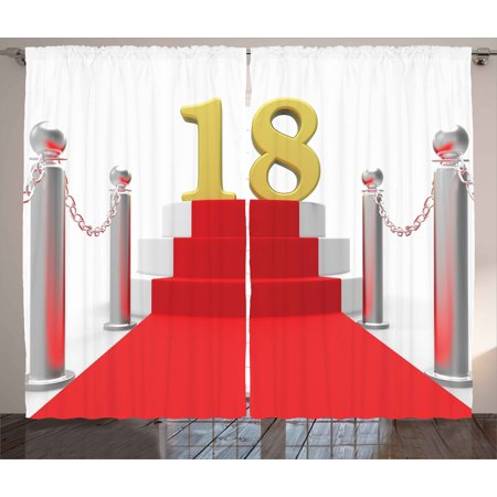 18th Birthday Decoration Curtains 2 Panels Set, Hollywood Greeting for a 18 Year Old Star Party Image, Window Drapes for Living Room Bedroom, 108W X 84L Inches, Red Silver and White, by Ambesonne
