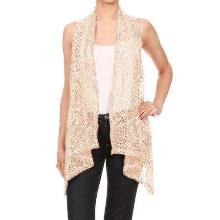 Anna Kaci Anna Kaci Womens Sleeveless Open Front Crochet Shawl