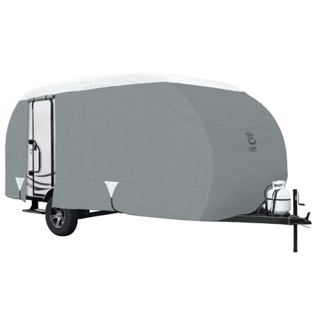 Classic Accessories PolyPRO 3 Deluxe R-Pod Travel Trailer Cover, Fits 20' RVs with Door in Back - Max Weather Protection with 3-Ply Poly Fabric Roof RV Cover - Model