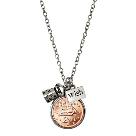 American Coin Treasures Greek 2 Euro Coin Wishing Well Pendant Necklace