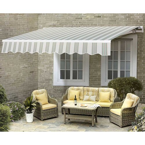 Sunjoy Outdoor 10 x 12 ft. Striped Patio Awning