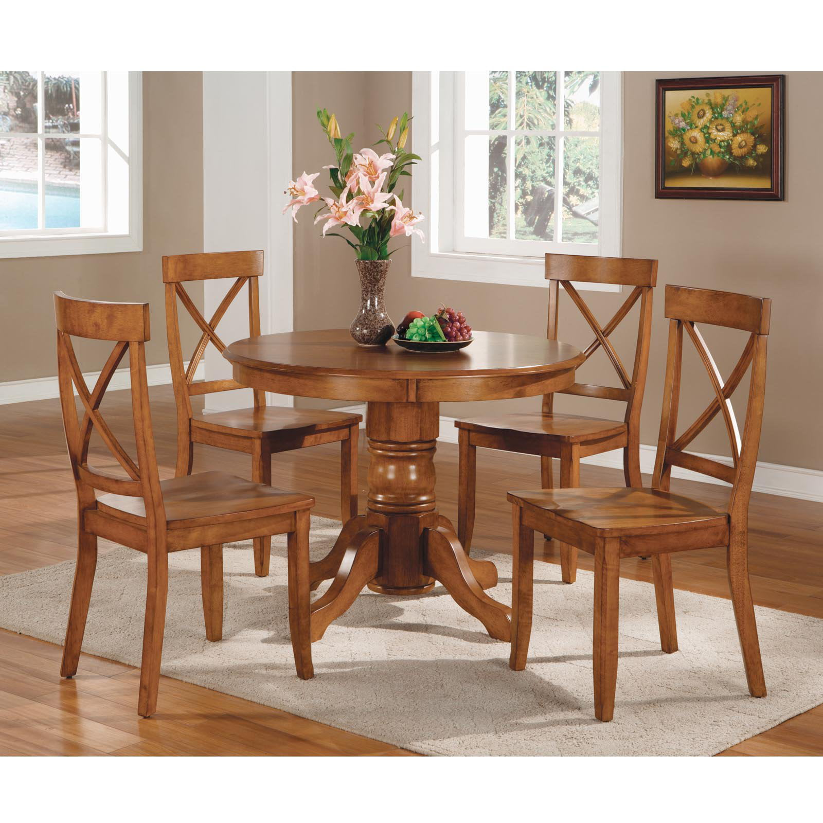 Home styles pedestal dining table cottage oak walmart watchthetrailerfo