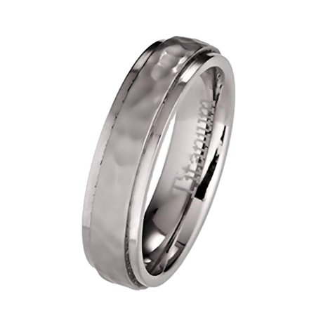 5mm Hammered Titanium Wedding Band Recessed Edges Comfort Fit Ring (Hammered Design Wedding Band)