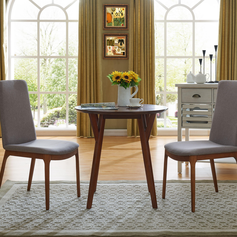 Southern Enterprises Solva Round Small Space Dining Table, Midcentury Modern Style, Dark Sienna