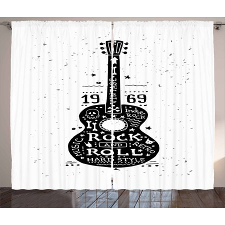 Guitar Curtains 2 Panels Set, Hand Drawn Style Instrument with Grunge Look and Retro Design Rock and Roll Theme, Window Drapes for Living Room Bedroom, 108W X 90L Inches, Black White, by Ambesonne