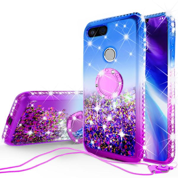 Liquid Glitter Phone Case Kickstand for Google Pixel 3 Case,Ring Stand Liquid Floating Quicksand Bling Sparkle Protective Girls Women for Google Pixel 3 - Hot Pink Gradient - image 1 of 5