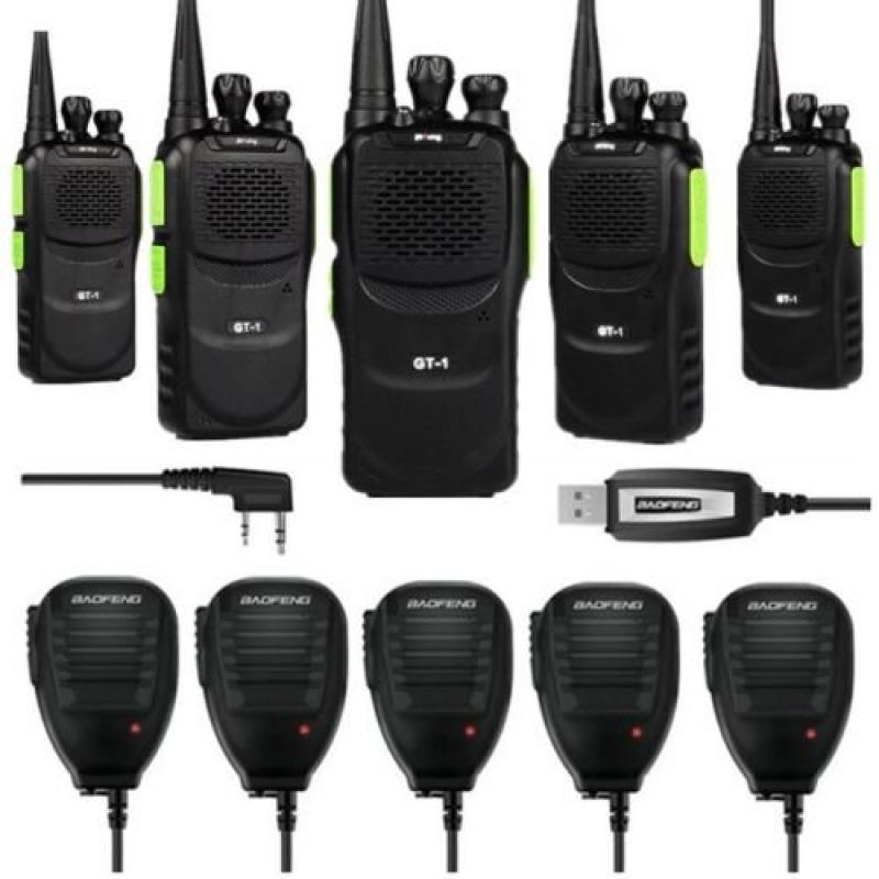 Baofeng 5 x Pofung GT-1 UHF 400-470MHz FM Two-way Ham Radio Green (LOT 5) + 1 x Programming Cable + 5 x Speaker Mic
