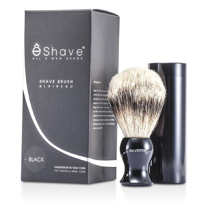 Eshave 12250213921 Travel Brush Silvertip With Canister - Black - 1pc