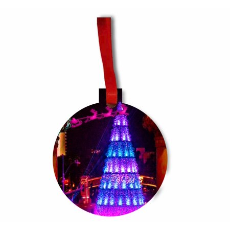 Santa and Sleigh Riding Over The Las Vegas Strip on Christmas TM Flat Round-Shaped Hardboard Holiday Tree Ornament Made in the - Halloween's Over Bring On Christmas