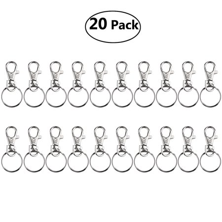 (FOXNOVO 20 Sets of Large-sized Detachable Swivel Lobster Clasps Keychains & 25mm Key Rings (Silver))