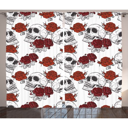 Skull Decorations Curtains 2 Panels Set, Retro Gothic Dead Skeleton Figures with Rose Halloween Spooky Trippy Romantic, Window Drapes for Living Room Bedroom, 108W X 84L Inches, Grey, by Ambesonne